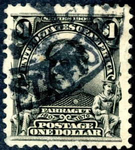 #311 – 1903 $1 Farragut, black. Used. Heavy Cancel XF