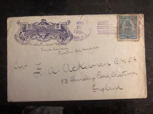 1920 Roatan Honduras Cover IOGT To Chatham England