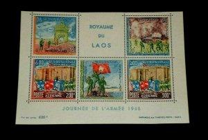 LAOS, #C53a, 1968, ARMY REGULAR ISSUE,  SOUV. SHEET MNH, NICE! LQQK!