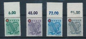 [I35] Baden 1949 red cross good set very fine MNH stamps value $135