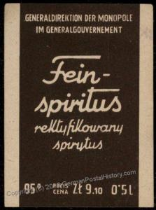 Germany WWII Occupied GGov Poland Liquor Revenue Label Used Krakau 76794