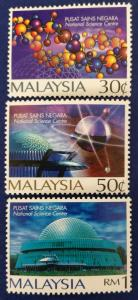 Malaysia Scott # 601-3 National Science Centre Stamps Set MNH