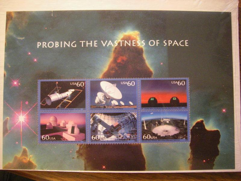 Scott 3409, 60c Probing the Vastness of Space, SS, MNH Beauty, CV $15