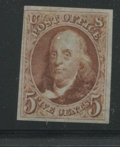 1875 US Stamp #3 5c Mint No Gum VF Imperf Catalogue Value $1300