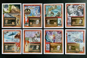 Stamps Jules Verne Deluxe Blocks Gold & Silver Ivory Coast 2005