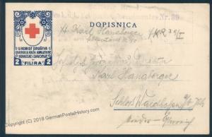 Austria WWI Serbo Croatian Red Cross FKR 39 Danube Warisdin Feldpost Cover 51032