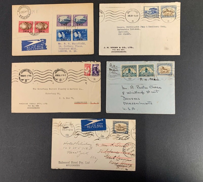 South Africa Postal History Lot of 5 Covers Between 1939-1945