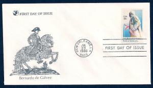 UNITED STATES FDC 15¢ Bernardo de Galvez 1980 Readers Digest