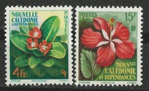 New Caledonia # 304-05  Flowers issue 1958    (2)  Unused VLH
