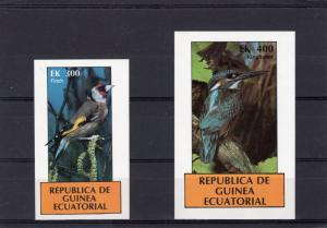 Equatorial Guinea 1977 BIRDS-Finch/Kingfisher 2 S/S Imperforated MNH VF