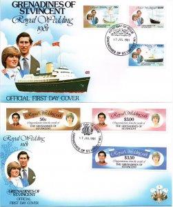 St. Vincent Grenadines - 1981 Royal Wedding FDC Set SG 195-200