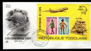 Togo - Sc #C223a Rouletted S/S -1974 UPU Centenary -  First Day Cover Scarce