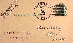 United States Maryland Watersville 1937 4f-bar  1859-1937  Postal Card  Phila...