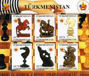 Turkmenistan 1999 World Women CHESS Championship Sheet (6) Perforated mnh.perf.