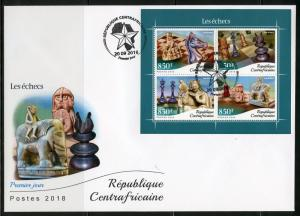 CENTRAL AFRICA 2018 CHESS PIECES  SHEET FIRST DAY COVER