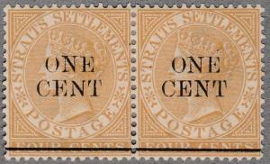 MALAYA STRAITS SETTLEMENTS 1892 1c on 4c mint pair SG89....................65687