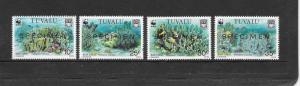 WWF - TUVALU BLUE CORAL #617-620 specimen overprint  MNH