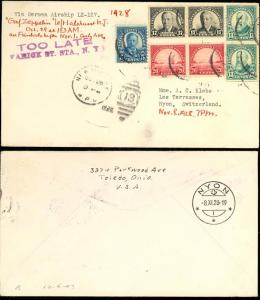 HINDENBURG LZ127 - TOO LATE FOR FLIGHT COVER - RARE!