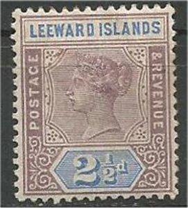 LEEWARD ISLANDS, 1890, MH 2 1/2p, Queen Victoria, Scott 3