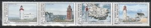 1992 St. Pierre and Miquelon - Sc 580 - MNH VF - 1 strip of 4 - Lighthouses