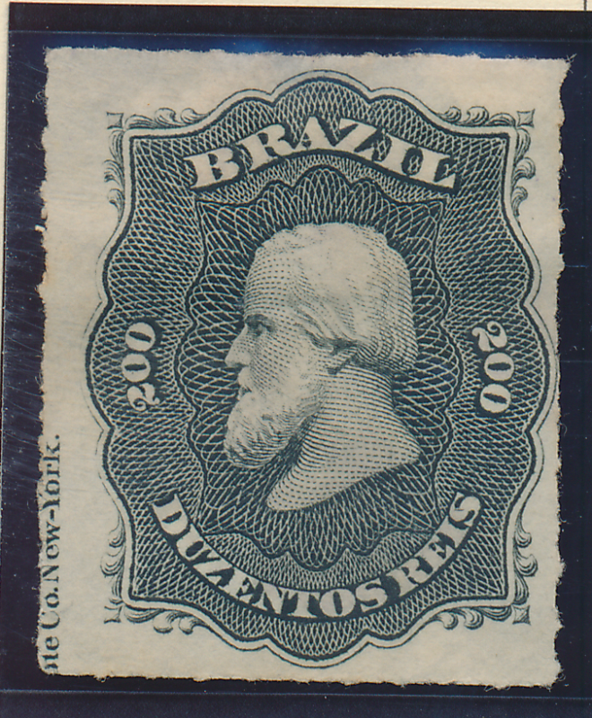 Brazil Stamp Scott #66, Unused, Margin Printer Inscription - Free U.S. Shippi...
