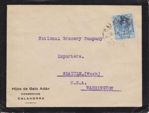 Spain Sc 302 on 1920 Mourning Cover to Seattle, WA