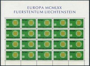 Liechtenstein 470 sheet,MNH.Michel 525 bogen.EUROPE CEPT-1970.Interwoven threads