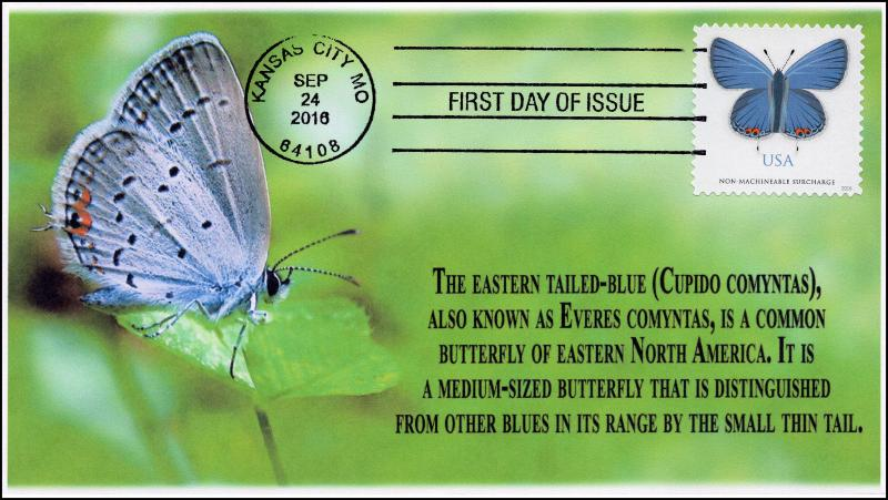SC 5136, 2016, Eastern Tailed Blue, Butterfly, BW Cancel, FDC, 16-304