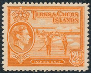 Turks & Caicos Islands 1944 2½d Orange SG199a MH