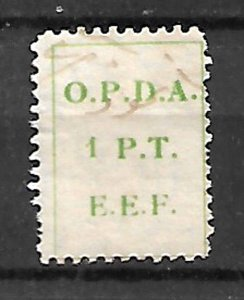 BRITISH PALESTINE ISRAEL.1924. O.P.D.A. REVENUE FISCAL TAX STAMP 1Pt. USED
