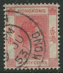 Hong Kong -Scott 159B - KGVI Definitive -1948 - FU - Single 20c Stamp