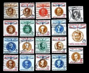 US STAMPS CHAMPIONS OF LIBERTY PHOTO IS OF COMPLETE USED SET FOR SALE