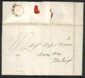 GB 1828 folded entire to Edinburgh - SIDMOUTH undated circle...............88525
