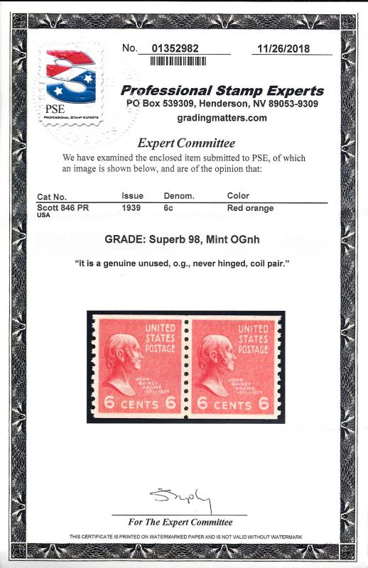 846 Mint,OG,NH Pair.. PSE Graded Supbeb 98.. SMQ $150.00.. Only 3 Graded Higher