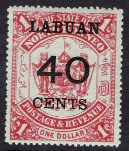 LABUAN 1895 40C OVERPRINTED ARMS $1
