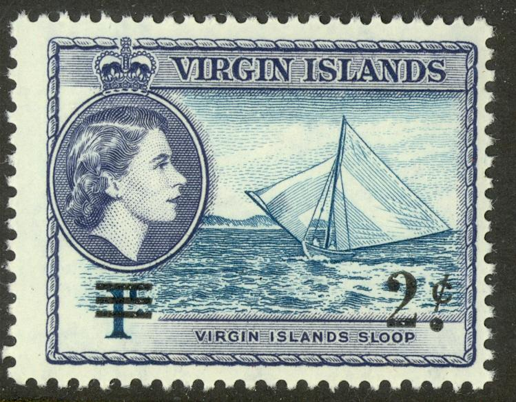 BRITISH VIRGIN ISLANDS 1962 2c on 1c Sloop Surcharge Issue Sc 129 MNH