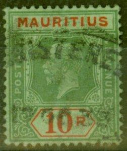 Mauritius 1922 10R on Emerald (Emerald Back) SG204d Die II Fine Used