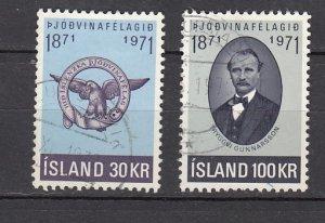 J26389  jlstamps 1971 iceland set used #433-4 designs