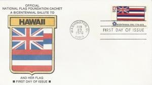 1682 13c BICENTENNIAL FLAG - HAWAII - Nat'l Flag Foundation cachet