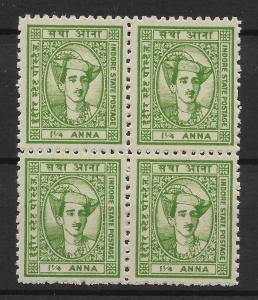 INDIA-INDORE SG39 1941 1¼a YELLOW-GREEN BLK OF 4 MNH