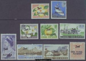 1966 Cook Islands Airmail, set of 9, SG 185-93, MUH