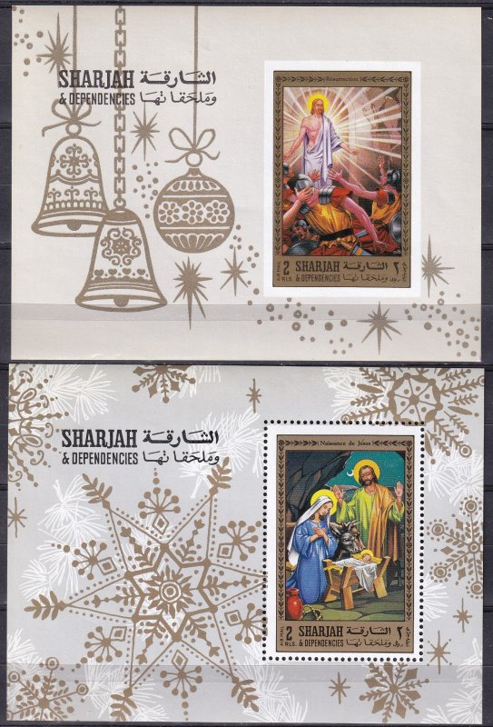Sharjah Christmas Souvenir Sheets MNH  (Z9353L)