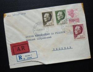 Yugoslavia 1968 Uprated Registered Postal Stationery Slovenia to Serbia A6