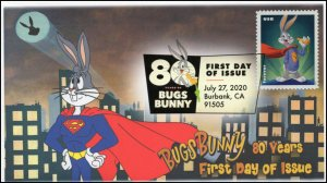 20-206, 2020, SC 5501, Bugs Bunny, First Day Cover, Digital Color Postmark, 80th