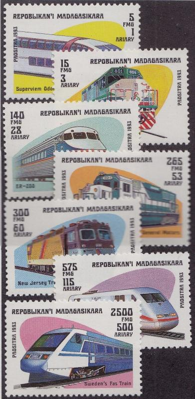 MALAGASY MNH Scott # 1200-1207 Modern Trains (8 Stamps)