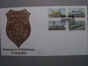 NAMIBIA- 1995 COVER :CENTENARY OF RAILWAYS- COMPLETE SET OF STAMP  FDC