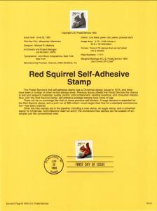 US SP908 Red Squirrel 2498 Souvenir Page FDC