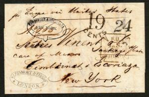 1856 London to NY Double Forward H/S RARE Due 24 in NY, 19 Due GB Cunyard Europa