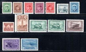 Scott 249-262, Complete Set, King George VI, Canada War Issue, MNHOG