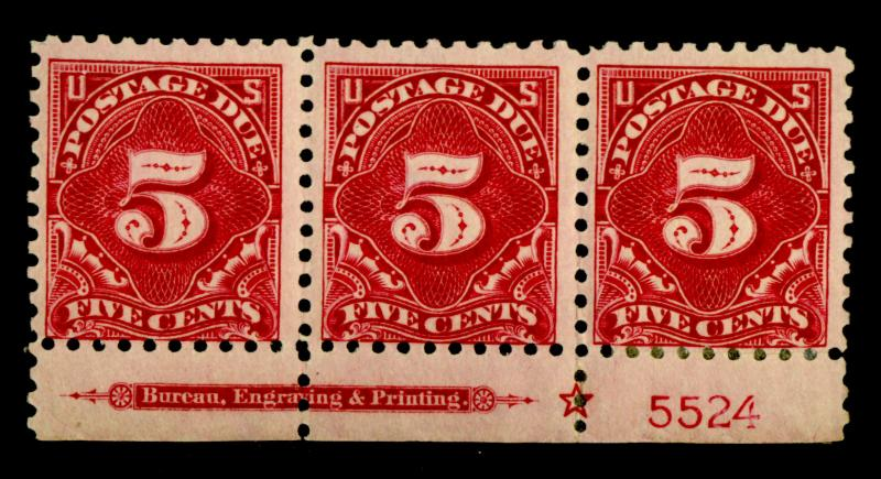 J55 MINT Plate strip F-VF OG 2 stps NH 1 HR Cat$330